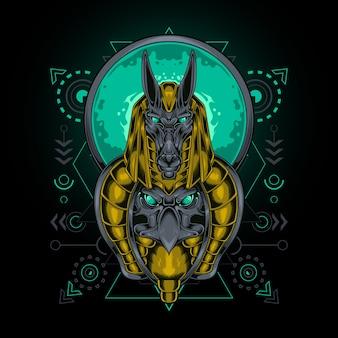 Anubis e águia com geometria sagrada