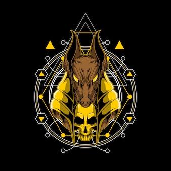 Anubis e crânio design ilustração com geometria sagrada