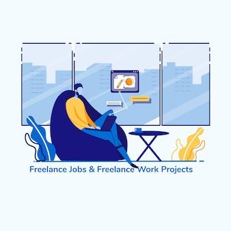 Anunciar trabalhos freelance e projeto de trabalho. lucro em satisfazer as necessidades do consumidor. Vetor Premium