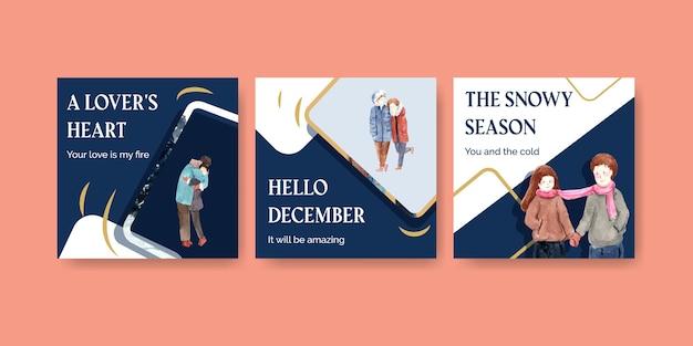 Anuncie modelo com design de conceito de amor de inverno para brochura e ilustração vetorial de aquarela de marketing