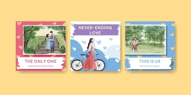 Anuncie modelo com design de conceito de amor paraíso para ilustração de aquarela de negócios e marketing