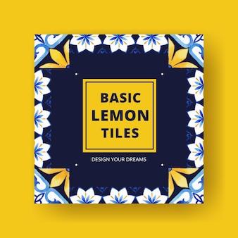 Anuncie modelo com design de conceito de azulejo italiano para aquarela de marketing empresarial