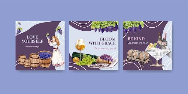 Anuncie modelo com design de conceito de fazenda de vinho para ilustração de aquarela de marketing.