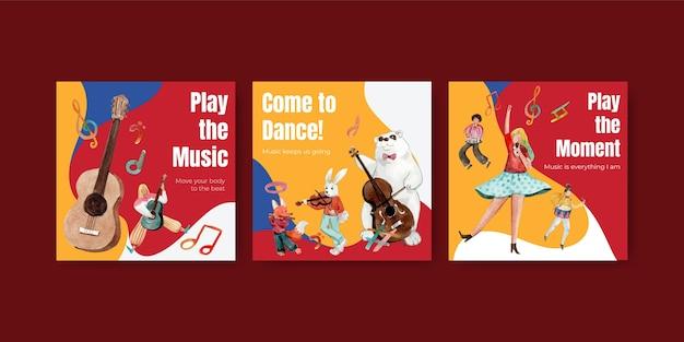 Anuncie modelo com design de conceito de festival de música para anúncios e ilustração vetorial aquarela de marketing