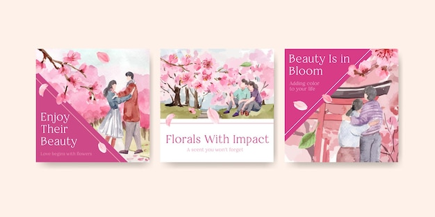 Anuncie modelo com design de conceito de flor de cerejeira para ilustração de aquarela de negócios e marketing