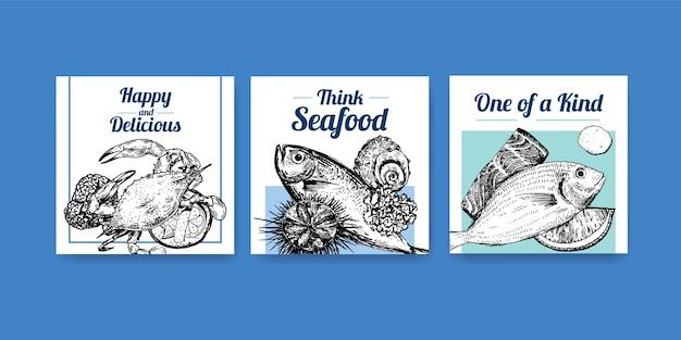 Anuncie modelo com design de conceito de frutos do mar para ilustração de marketing