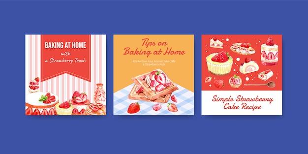 Anuncie modelo com design de cozimento de morango com crepes, waffles, panquecas, rolo de geléia de bolinho e ilustração em aquarela de cheesecake