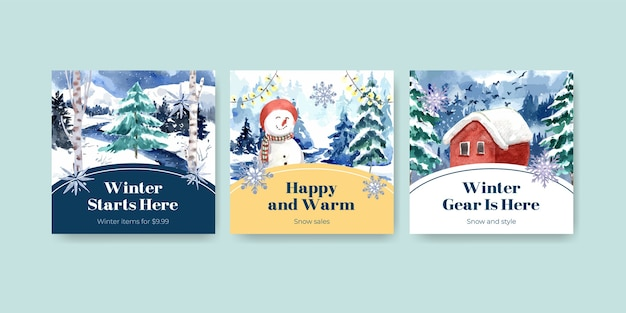 Anuncie modelo de banner definido com liquidação de inverno para anúncios e marketing em estilo aquarela