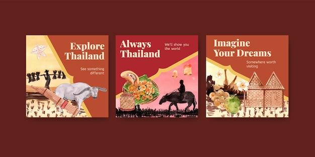 Anuncie modelo de banner definido com viagens para a tailândia para marketing em estilo aquarela