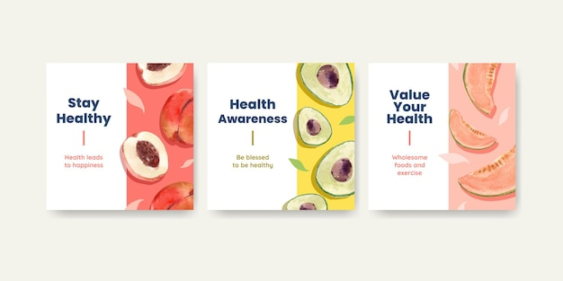 Anuncie modelos para o dia mundial da saúde em estilo aquarela