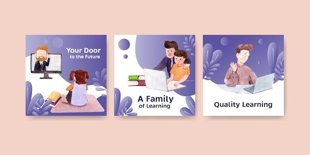Anuncie o conceito de aprendizagem on-line, aquarela de folheto e livreto