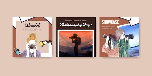 Anuncie o design do modelo com o dia mundial da fotografia para folheto e brochura