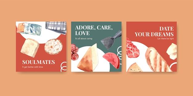 Anuncie o modelo com design de conceito europeu de piquenique para ilustração de aquarela de marketing.