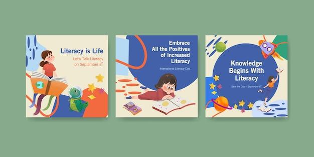 Anuncie o modelo com o design de conceito do dia internacional da alfabetização para aquarela de marketing empresarial.