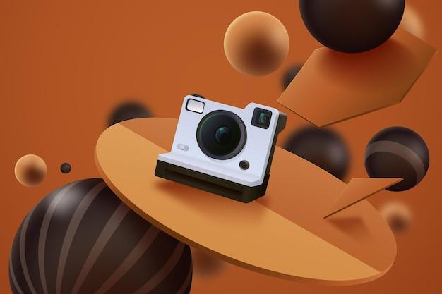 Anúncio 3d realista com câmera fotográfica