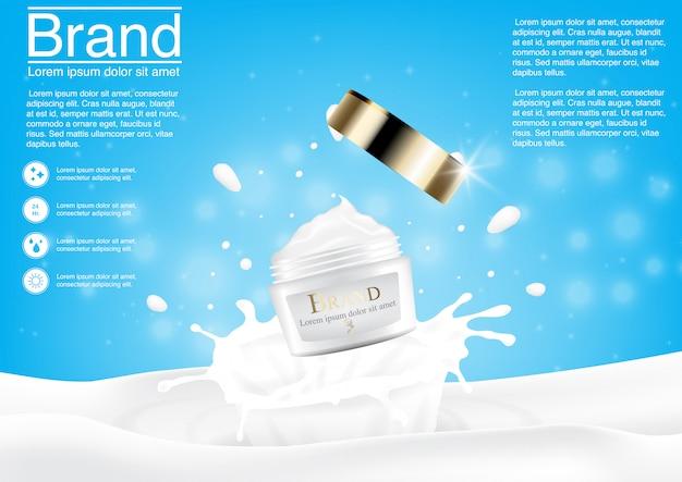 Anúncio cosmético com respingo de leite