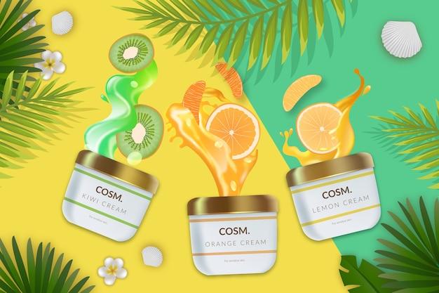 Anúncio cosmético comercial com produtos para cuidados com a pele
