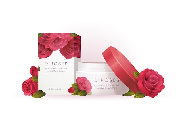 Anúncio cosmético de creme de corpo de rosas