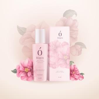 Anúncio cosmético de flores de peônias