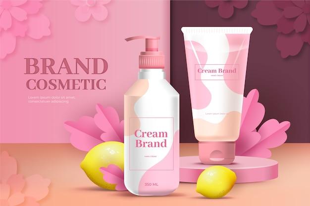 Anúncio cosmético de marca de gel e creme de loção rosa