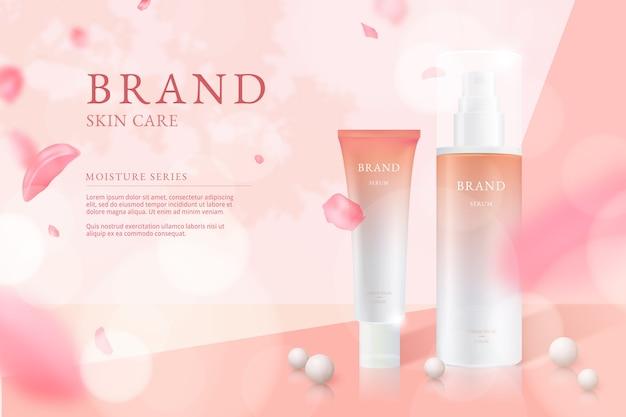 Anúncio cosmético para cuidados com a pele