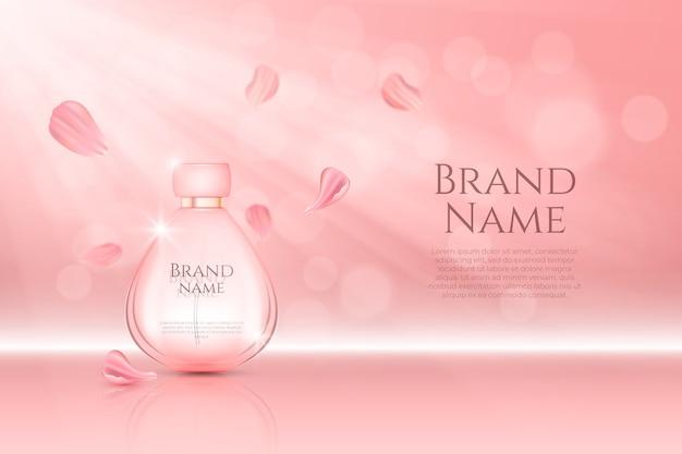 Anúncio cosmético para frasco de perfume