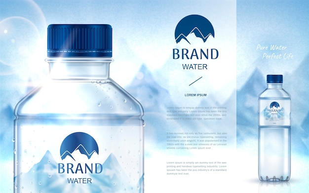 Anúncio de água mineral pura, com garrafa fechada no lado esquerdo e garrafa menor no lado direito, fundo da montanha de neve