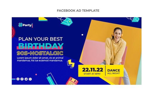 Anúncio de aniversário em mosaico plano no facebook