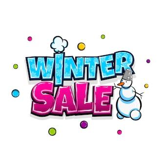 Anúncio de arte pop de texto em quadrinhos de venda de inverno a baixo preço frase de pôster com taxas sazonais de quadrinhos fofos