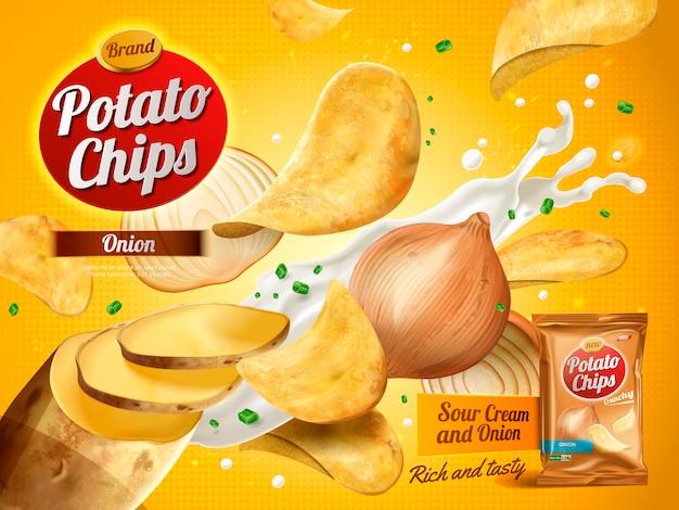 Anúncio de batata frita, sabor de creme de cebola