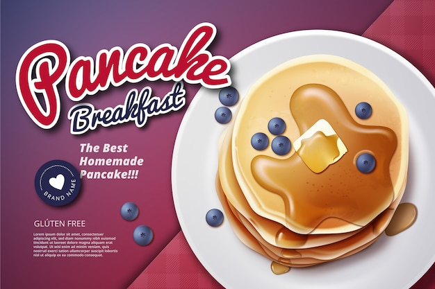 Anúncio de café da manhã com panqueca