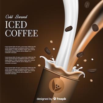 Anúncio de café gelado realista