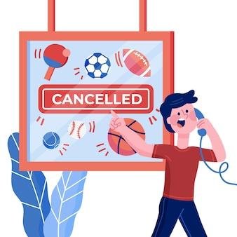 Anúncio de cancelamento de esportes e atividades
