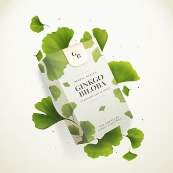 Anúncio de cápsulas de ginkgo biloba de ervas à saúde