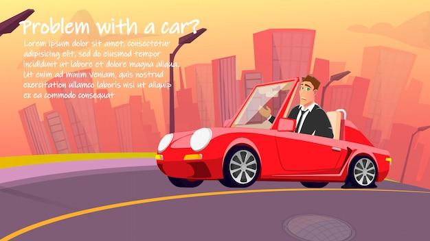 Anúncio de carro criativo serviço de reparação de desenhos animados