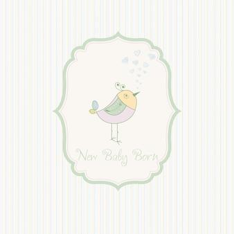 Anúncio de cartão de nascimento com passarinho