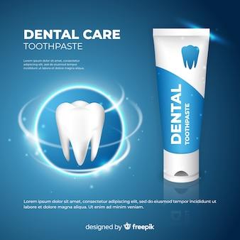 Anúncio de cartaz de creme dental fresco realista
