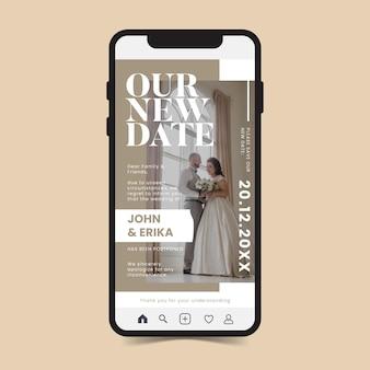 Anúncio de casamento adiado app para celular