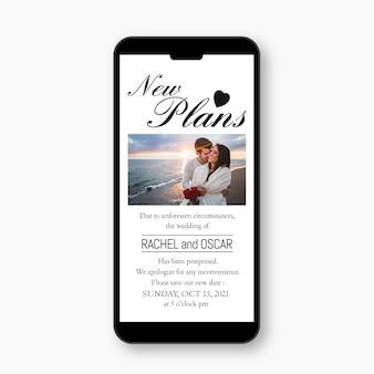 Anúncio de casamento adiado em design de formato móvel