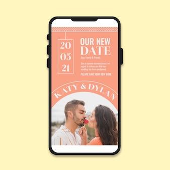 Anúncio de casamento adiado no celular