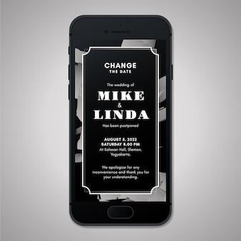 Anúncio de casamento adiado no formato de tela do smartphone