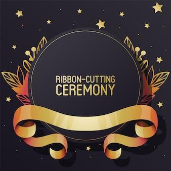 Anúncio de cerimônia de corte de fita.