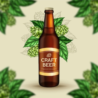 Anúncio de cerveja com ilustração vintage