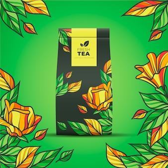 Anúncio de chá com decoração de desenho à mão