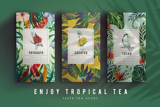 Anúncio de chá com decoração em aquarela