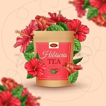 Anúncio de chá com mão desenhando decoração
