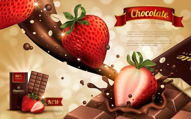 Anúncio de chocolate com sabor de morango, fundo bokeh