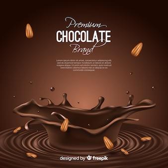 Anúncio de chocolate delicioso com amêndoas