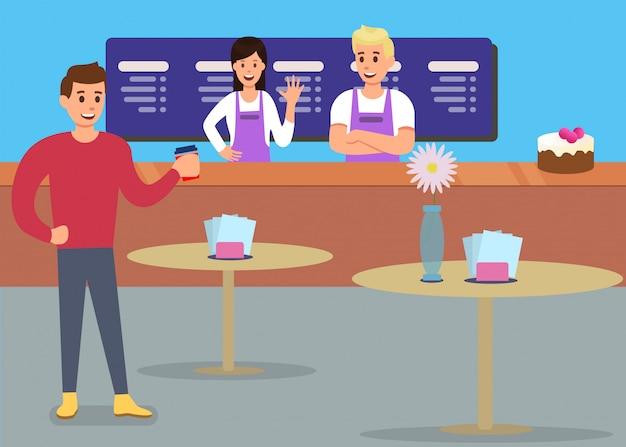 Anúncio de cliente feliz de serviço de café profissional