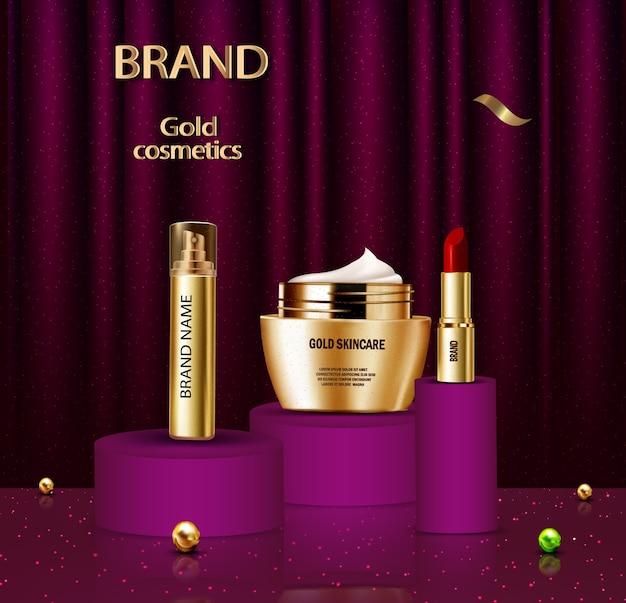 Anúncio de cosméticos dourados de luxo